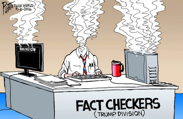 Bruce Plante Cartoon: Trump's Facts, Donald J. Trump, GOP, Republican Presidential Candidate 2016, RNC, Republican Party, Campaign 2016, Fact Checkers, Plante 20160909