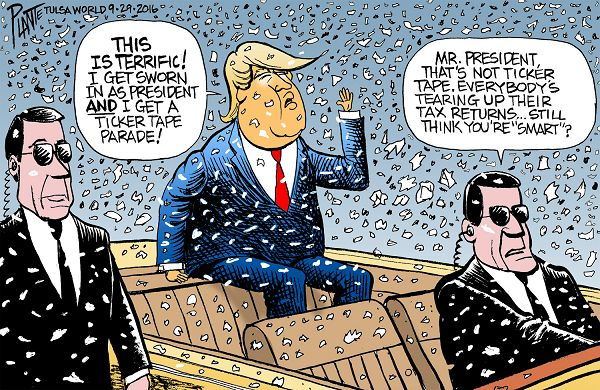 Bruce Plante Cartoon: Trump Ticker Tape, Donald J. Trump, tax returns, taxes, IRS, Republican Presidential Candidate 2016, Presidential Campaign 2016, GOP, RNC, Republican Party, Plante 20160930