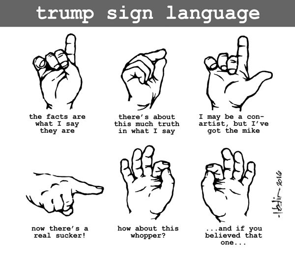 trump sign language