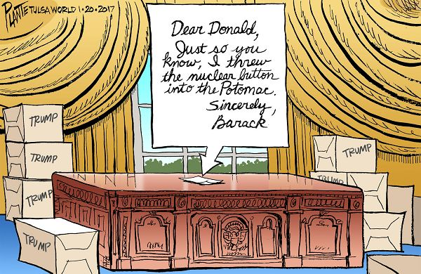 Bruce Plante Cartoon: Obama's note to Trump, President Donald J. Trump, Former President Barack Obama, White House, Oval Office, Inauguration 2017, Plante 20170122