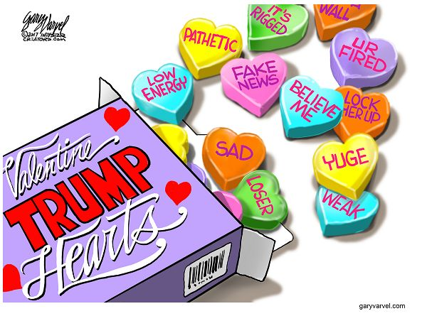 What messages would President Trump's Valentine hearts have on them?